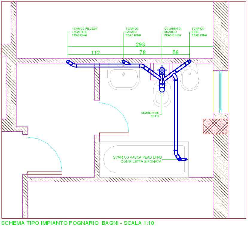 Schema impianto fognario bagno confortevole soggiorno - Impianto di scarico bagno ...
