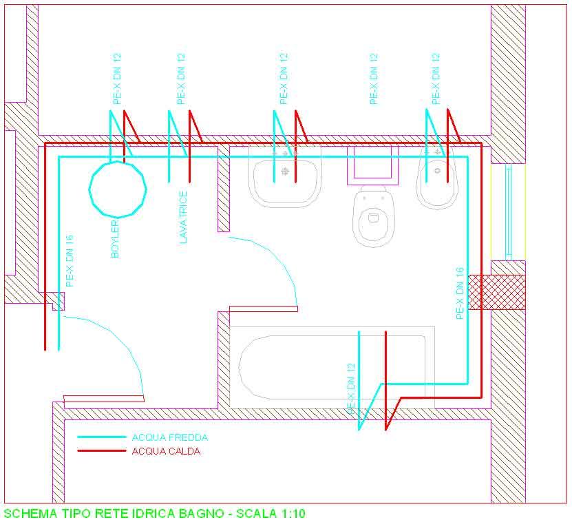 Schema impianto fognario bagno confortevole soggiorno - Impianto idraulico bagno schema ...