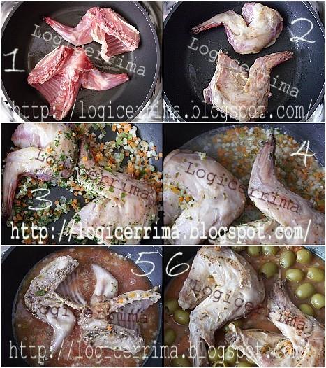 [ Coniglio brasato con Olive - sequenza ricetta illustrata ]
