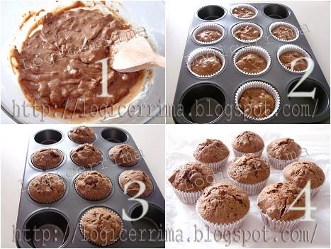 [ Muffins con Cioccolato e Biscotti - ricetta fotografata ]