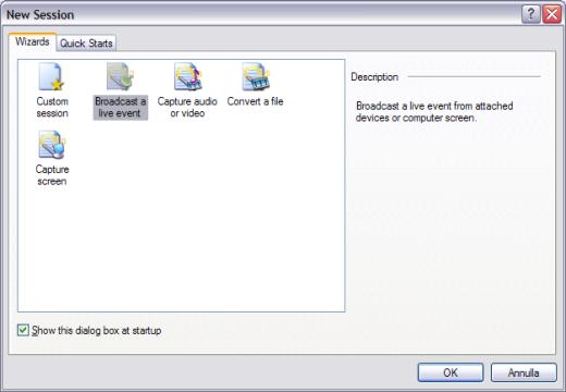 Nuova sessione in Windows media encoder