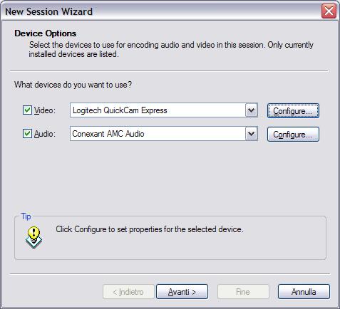 Scelta di video e audio in windows media encoder