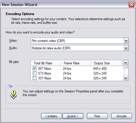 Formato d'output di windows media encoder