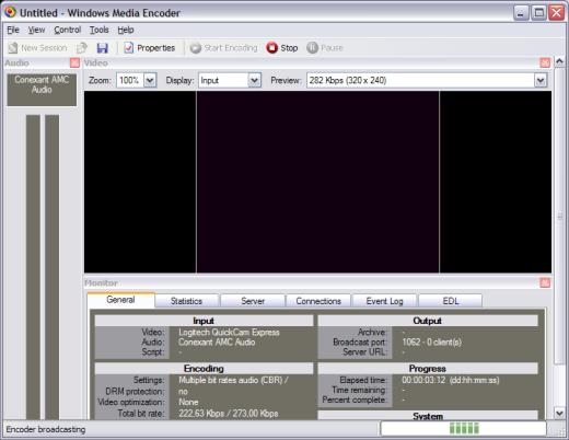 Trasmissione del video in streaming in Windows media encoder