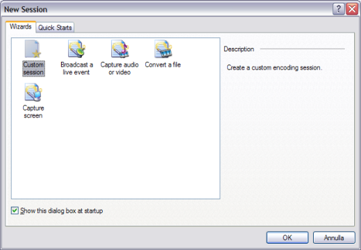 Nuova sessione per l'invio del video avi da windows media encoder
