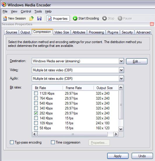 Scelta della compressione del video d'output