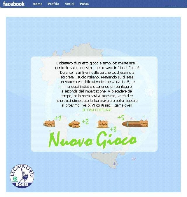 Gioco Lega nord su Facebook