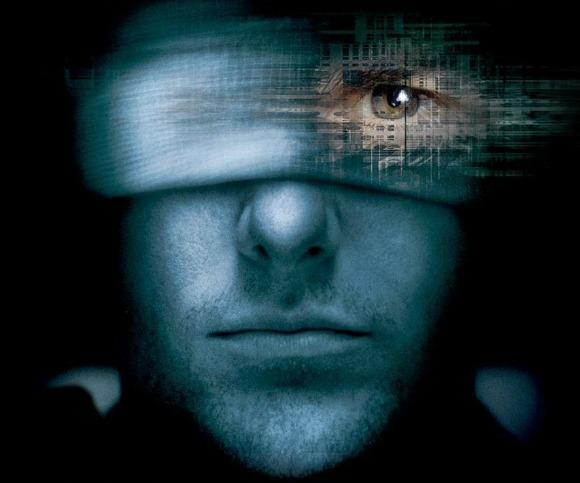 volto uomo, benda, occhio