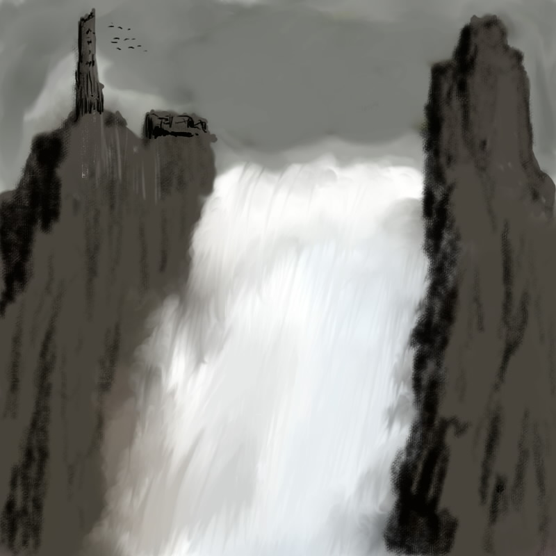 DSG 813: Fantasy Environment: CASCADING WATERFALLS 'NEATH THE DARK AND ANCIENT RUINS
