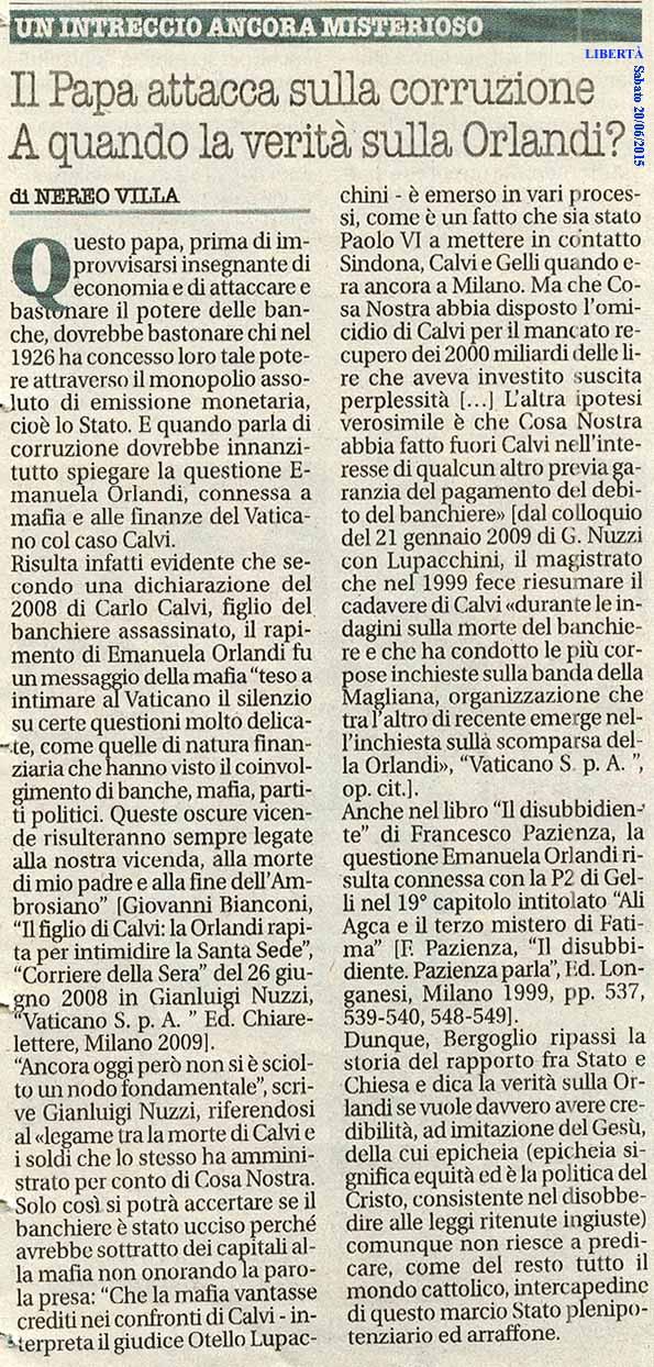 O Bergoglio! A quando la verità sulla Orlandi?