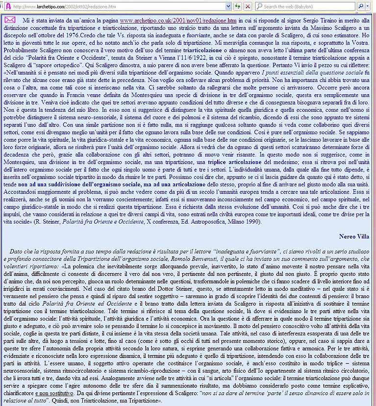 Esempi recenti di errori sulla TS di Rudolf Steiner