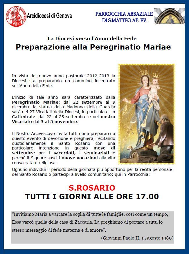 Preparazione alla Peregrinatio Mariae - Parrocchia Abbaziale San Matteo