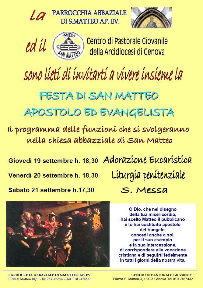 21 settembre - Festa di san Matteo Apostolo ed Evangelista