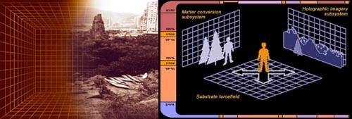 il ponte ologrammi di Star Trek modella dei campi di forza per farli assomigliare a persone o oggetti e poi un proiettore di luce gli conferisce i giusti colori