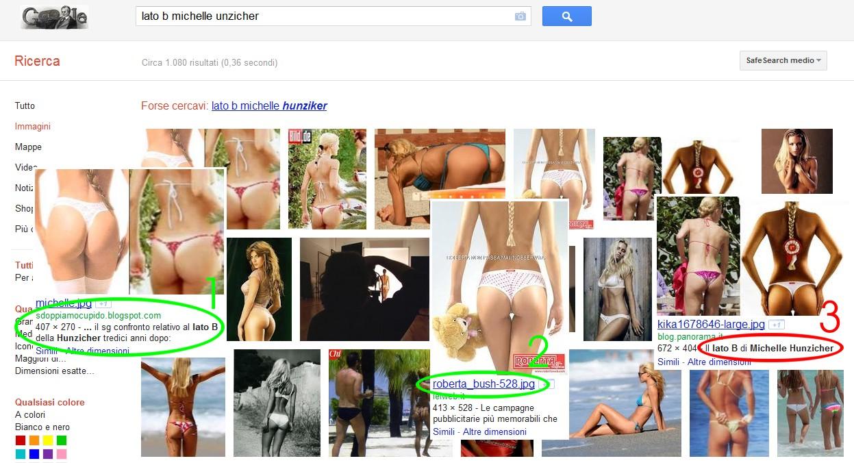 Ricerca Google lato B Michelle Hunziker