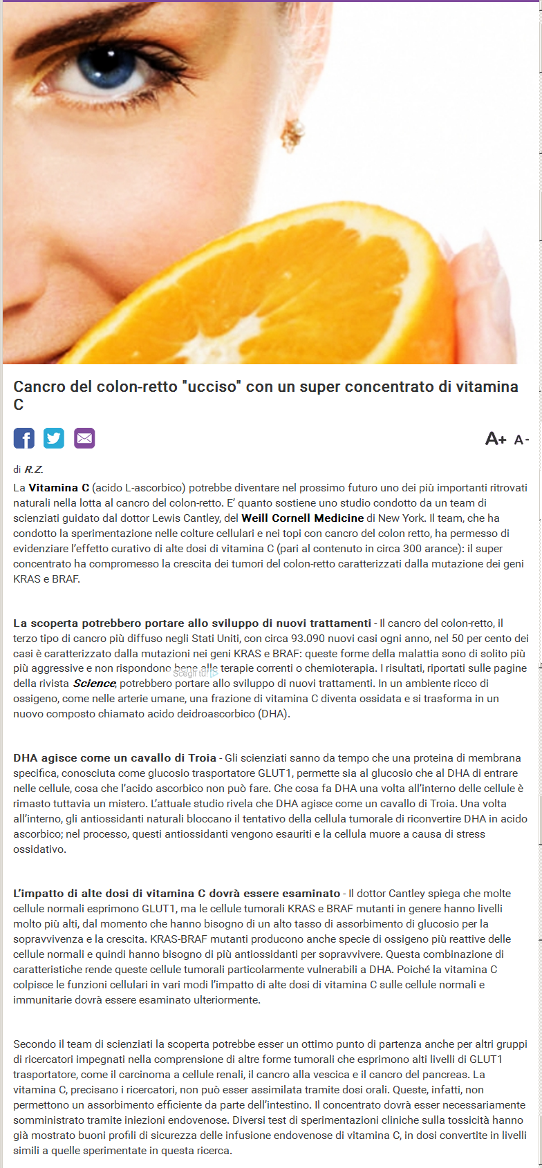 alta dose di vitamina C per uccidere i parassiti