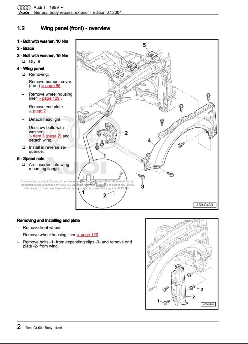 Audi Tt Mk1 1997  2006 Manuale Officina
