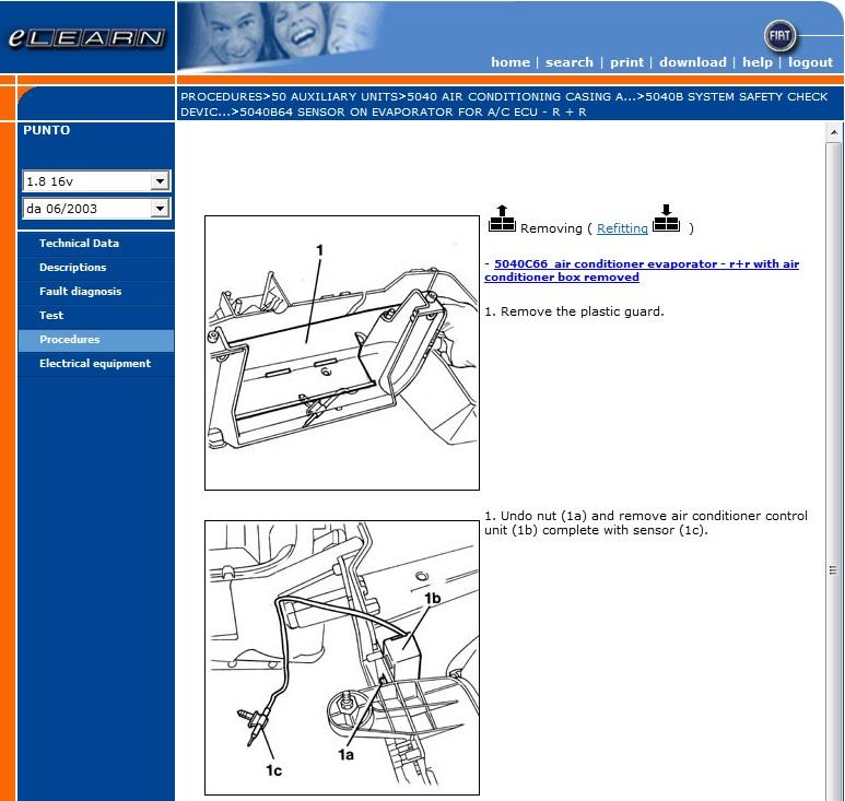 Fiat Punto 2 U00b0 Serie 188 Elearn Manuale Officina Workshop Manual Wiring Diagrams