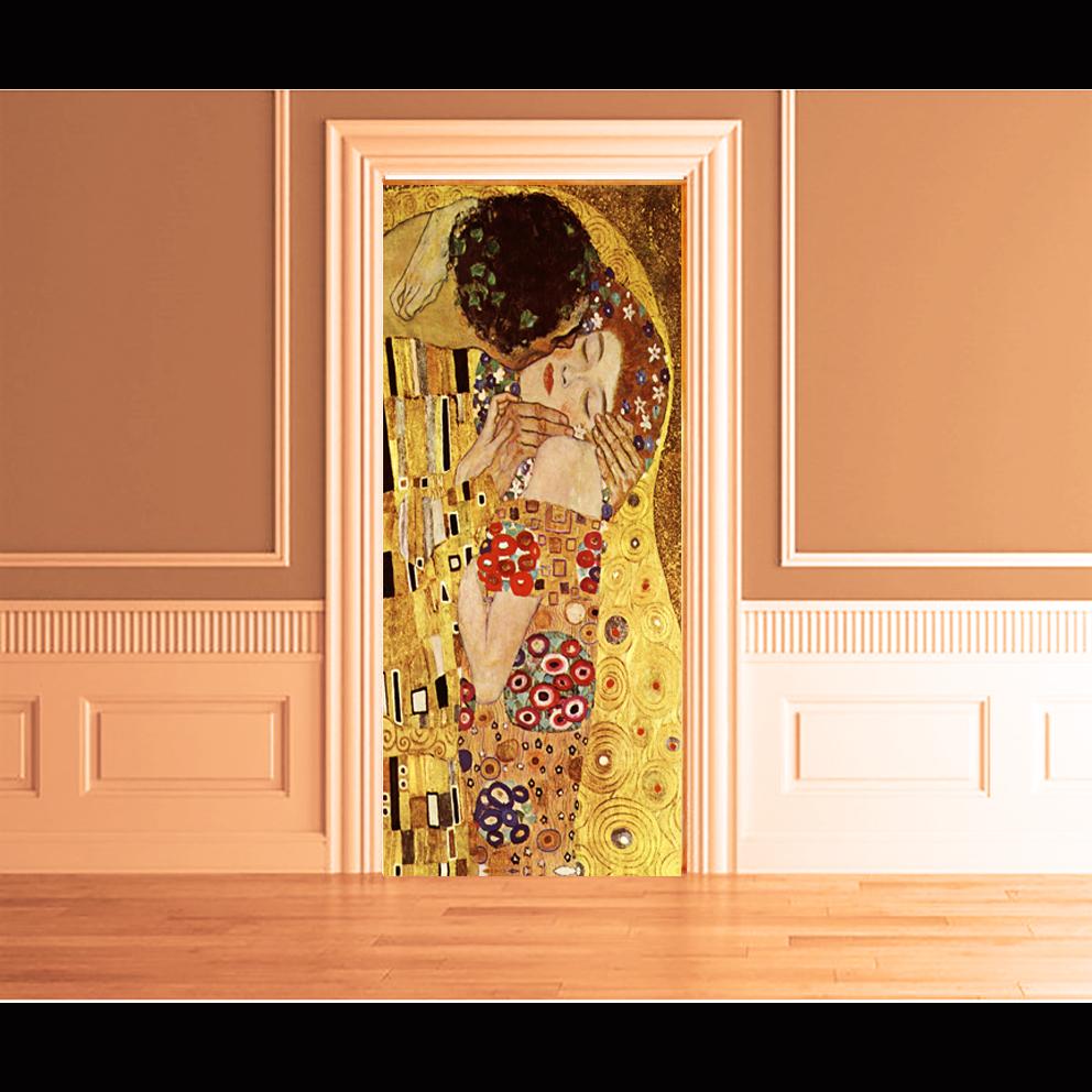 Quadro wall stikers klimt il bacio arredo locali hotel for Carta adesiva per porte