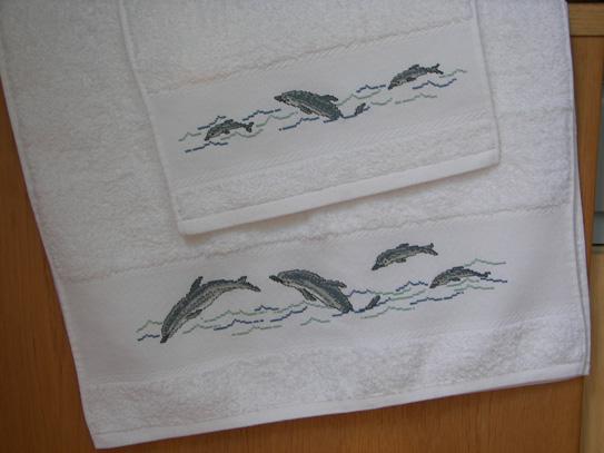 Asciugamano con motivi marini punto croce e punto scritto u flickr