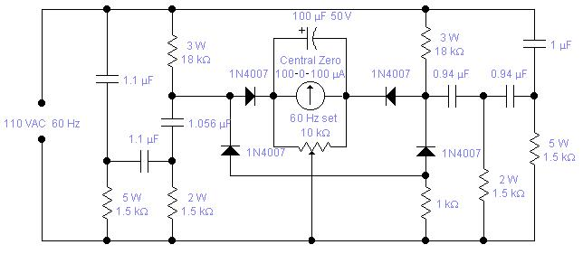 circuit2 full scale deflection is around 2 hz if you wish to accommodate a wider range of 3 5 hz typical for a petrol driven generator you have to change