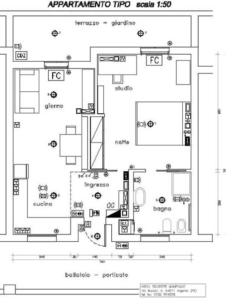 Progetto di appartamento minimo domotico per anziani disabili o coppie giovani - Planimetria camera da letto ...