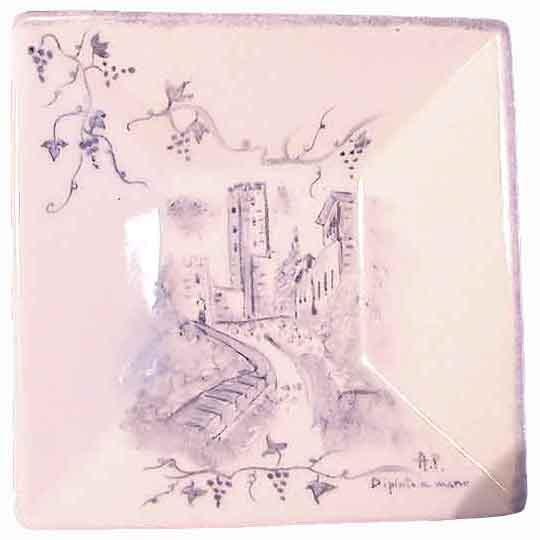 Assolata con uva - Dipinto su porcellana di A. Pallastrelli