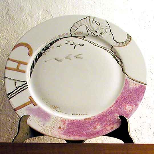 Chat - Dipinto su porcellana di A. Pallastrelli