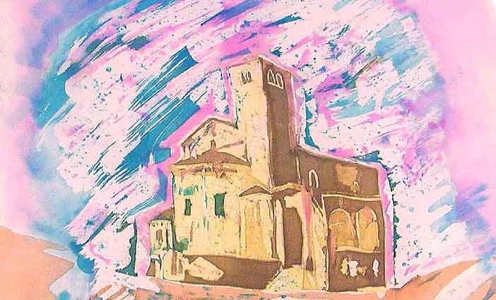 Collegiata - Dipinto su seta di Aurelia Pallastrelli