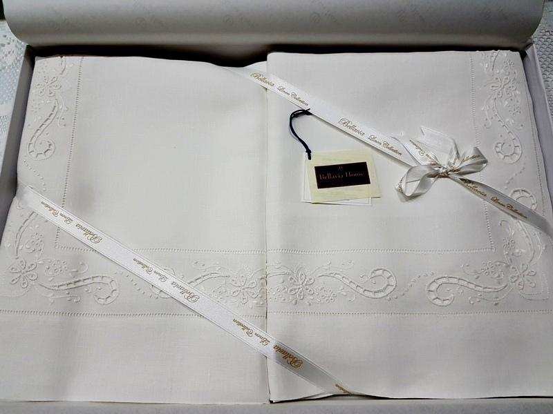 Lenzuola Matrimoniali In Inglese.Raffinate Lenzuola Bellavia Puro Lino 100 Intaglio E Punto Inglese