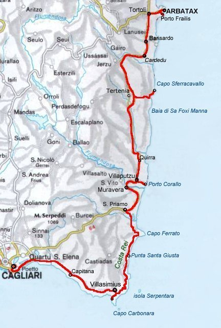 Cartina Sardegna Sud Est.Homepage