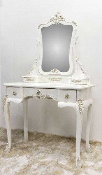 Pettiniera toeletta consolle con specchio bianca in legno for Consolle shabby chic