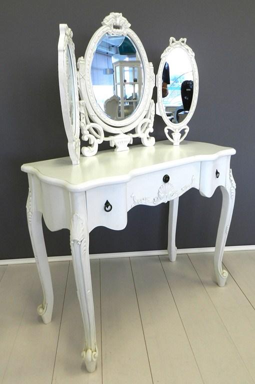 Pettiniera toeletta consolle con specchio bianca legno for Consolle shabby ebay