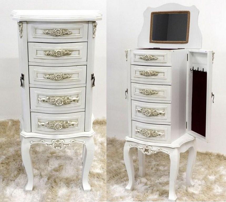 Pettiniera toeletta cassettiera portacollane shabby bianca - Cassettiera con specchio ...