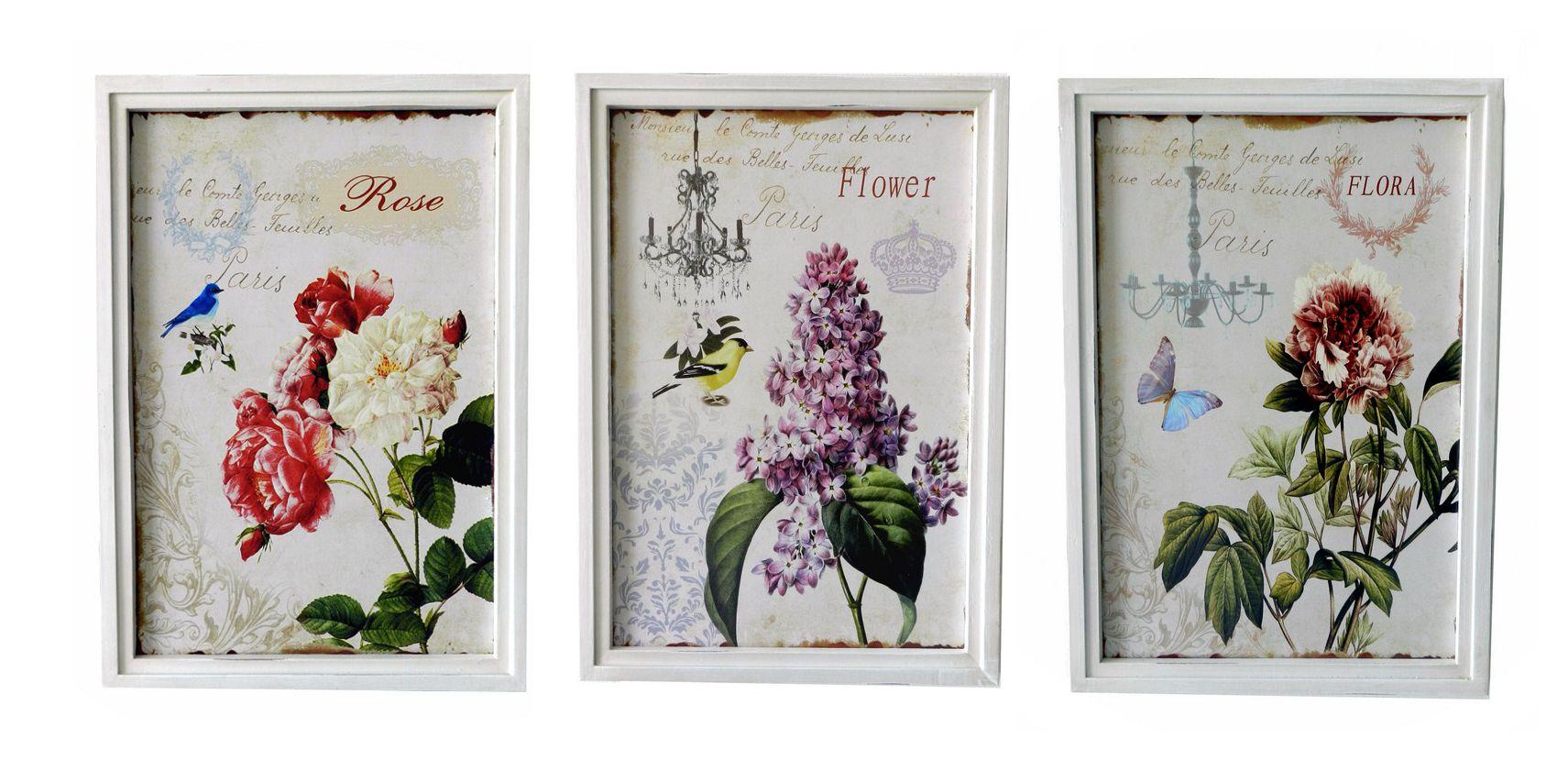 Set 3 quadri stampa fiori shabby chic 34X48 luno  eBay