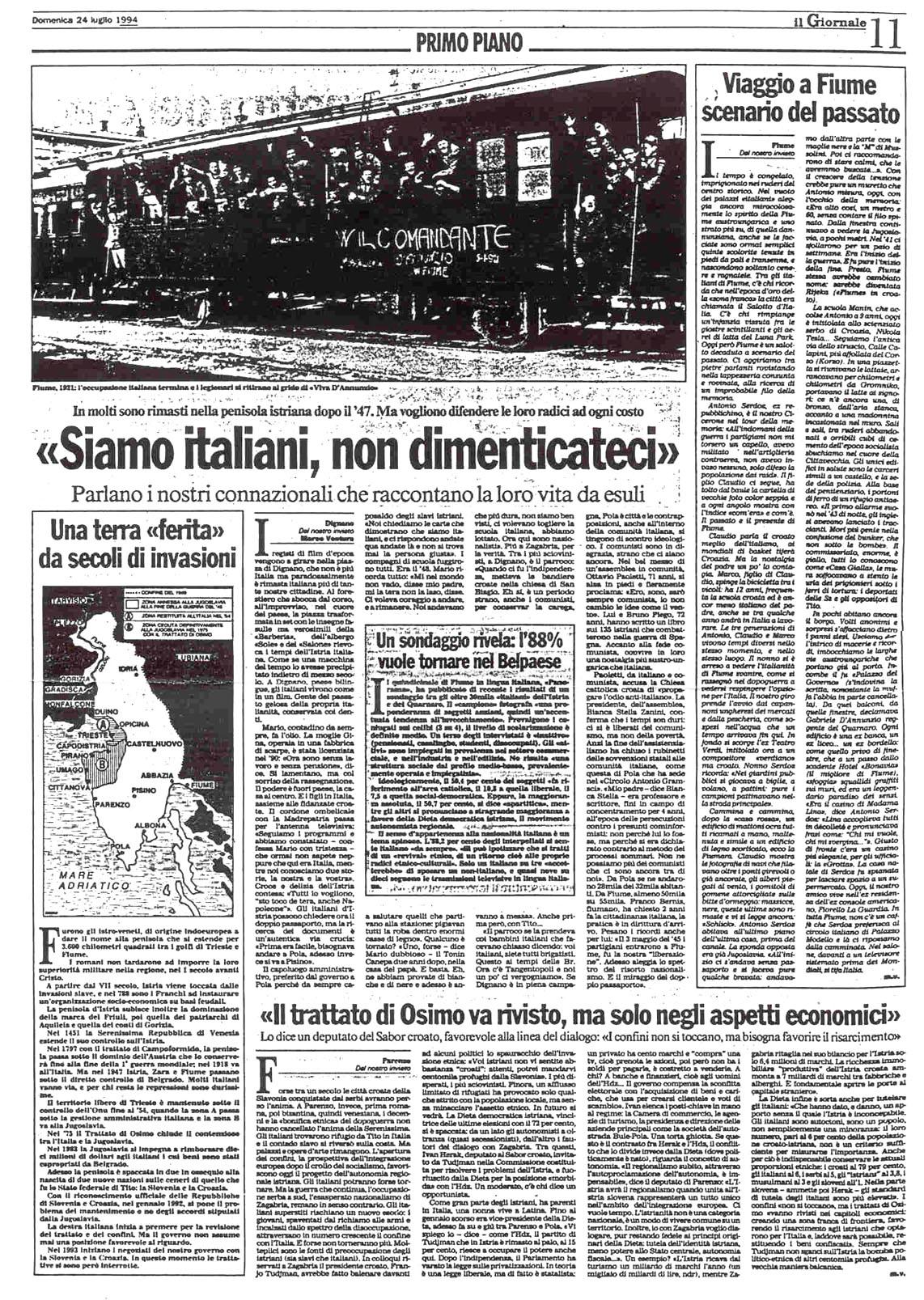Fiume italiana bibliografia for Resoconto tratto da articoli di giornali