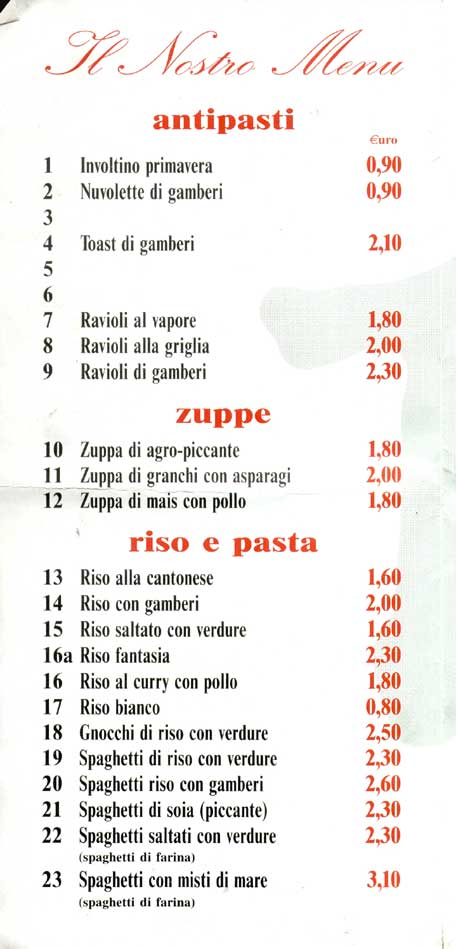 Menu 39 cinese for Menu cinese
