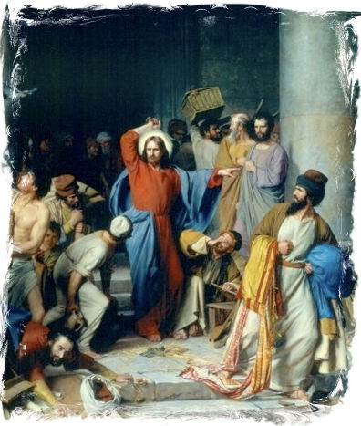 Gesù caccia i venditori dal tempio di Gerusalemme nei 4 Vangeli