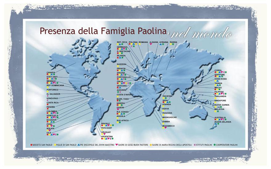 Congrecazione Società San Paolo Regioni e Province nel mondo