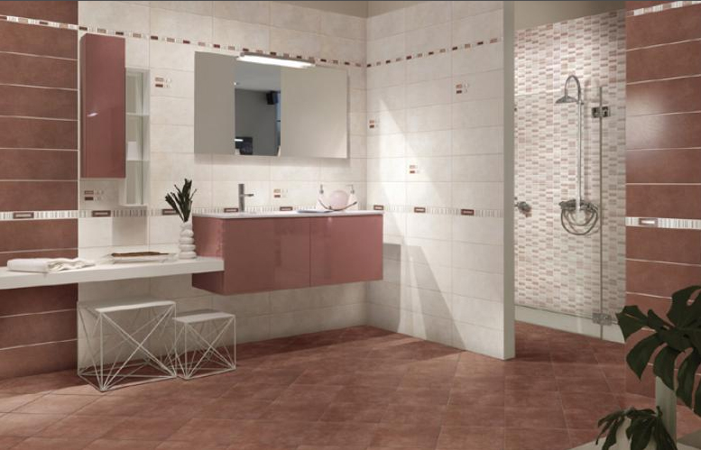 Piastrelle pavimento rivestimento bagno moderno Regina rosso amaranto ...