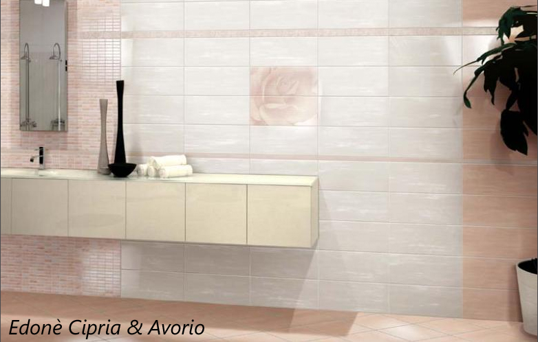 Piastrelle bagno pavimento rivestimento moderno edon - Piastrelle bagno rosa ...