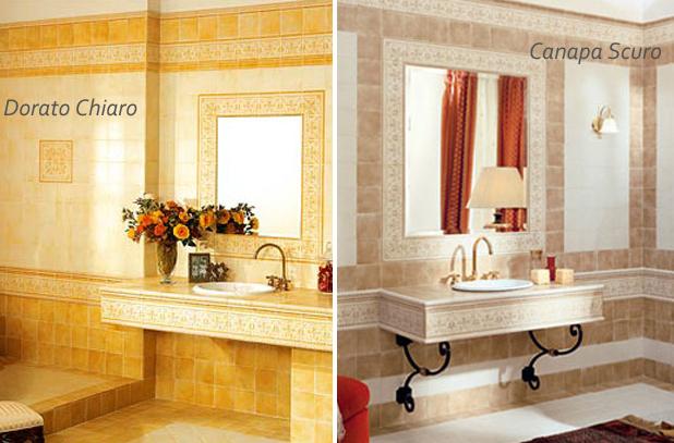 Piastrelle decorate a mano decoratori bassanesi dorato canapa