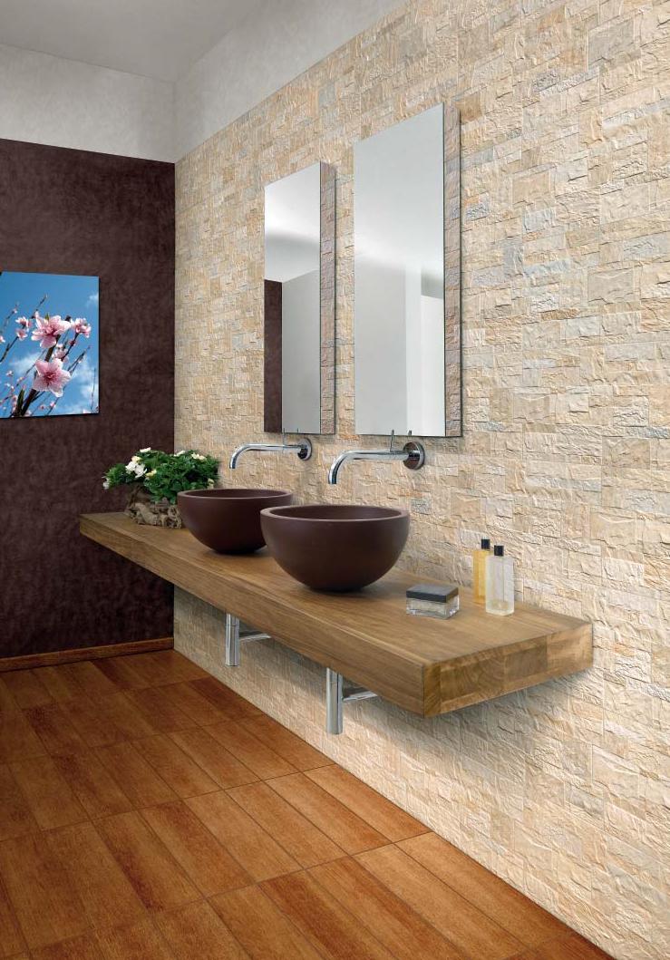 Piastrelle gres rivestimento moderno effetto pietra fiordo rockstyle r gold ebay - Rivestimento bagno in pietra ...