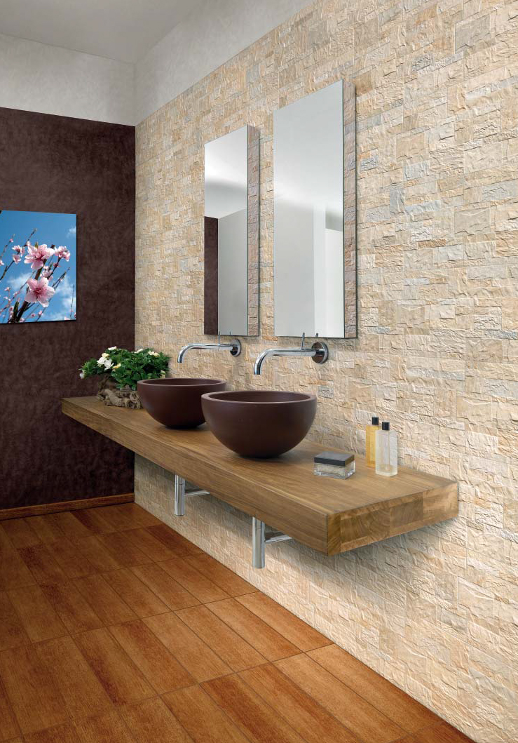 Piastrelle gres rivestimento moderno effetto pietra fiordo for Piastrelle bagno pietra
