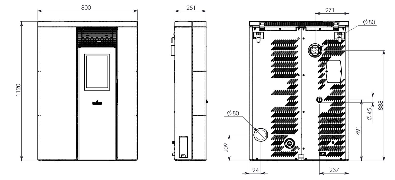 Stufa a pellet canalizzata stretta slim corridoio 8kw - Art 16 bis tuir causale bonifico ...