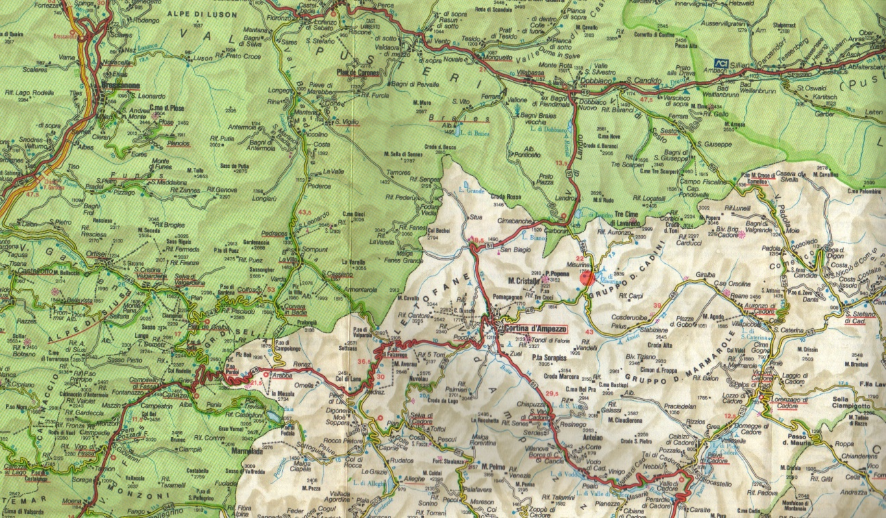 Cartina Geografica Dolomiti.Bonacossa