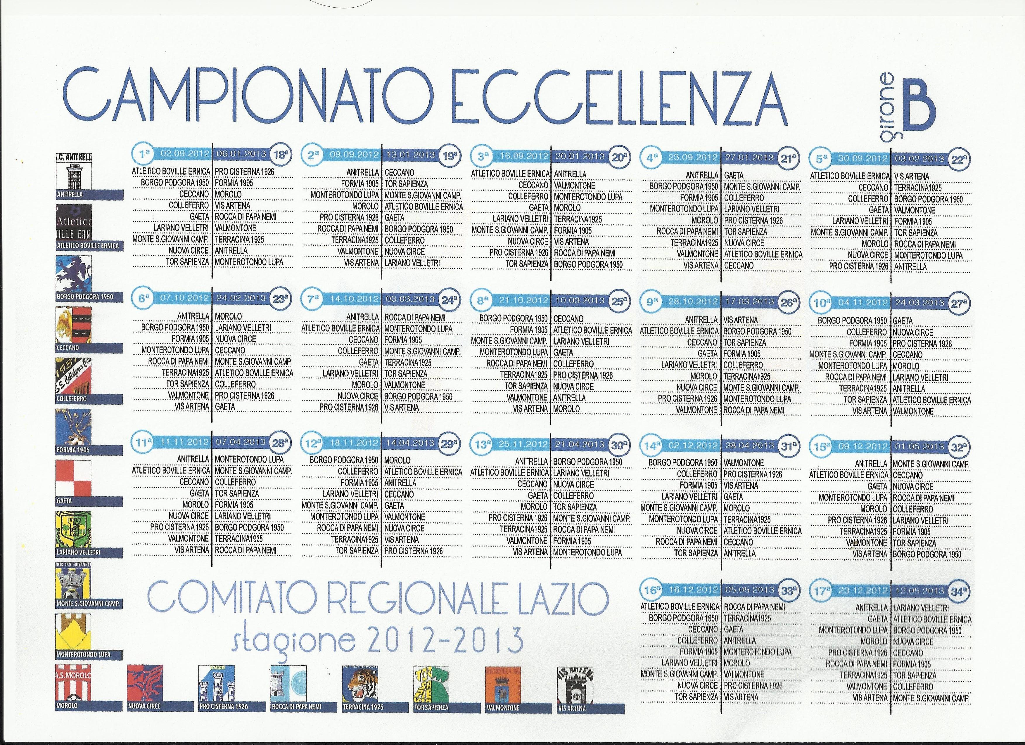 Calendario Eccellenza Girone B.Calendari Eccellenza Girone B Su Gaetani