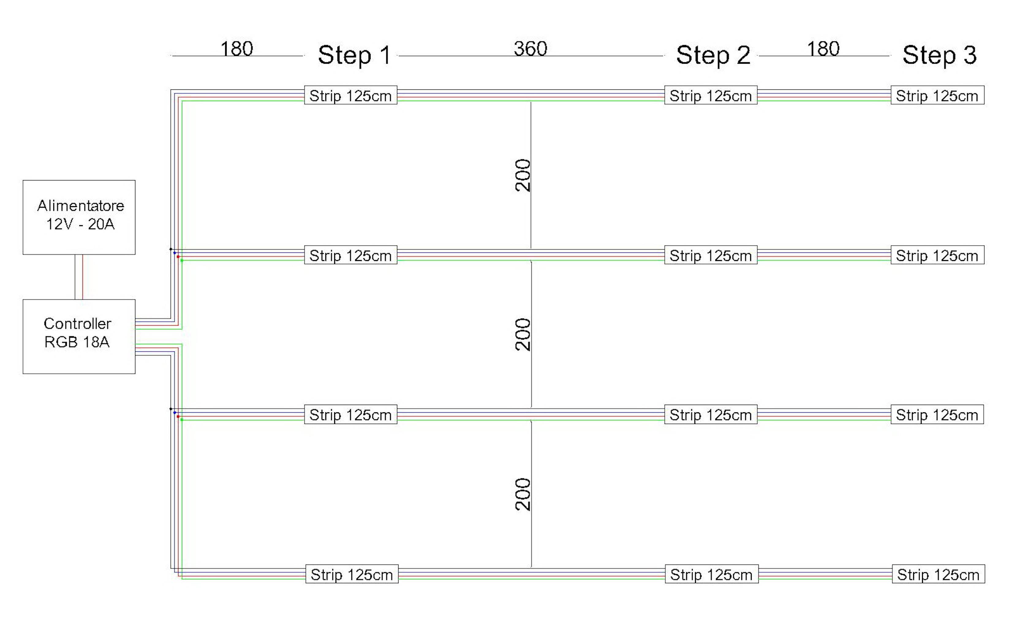 Cavo Filo Elettrico Quadri Polare 4 X 0,25 mmq Per Striscia Led RGB 1 Metro