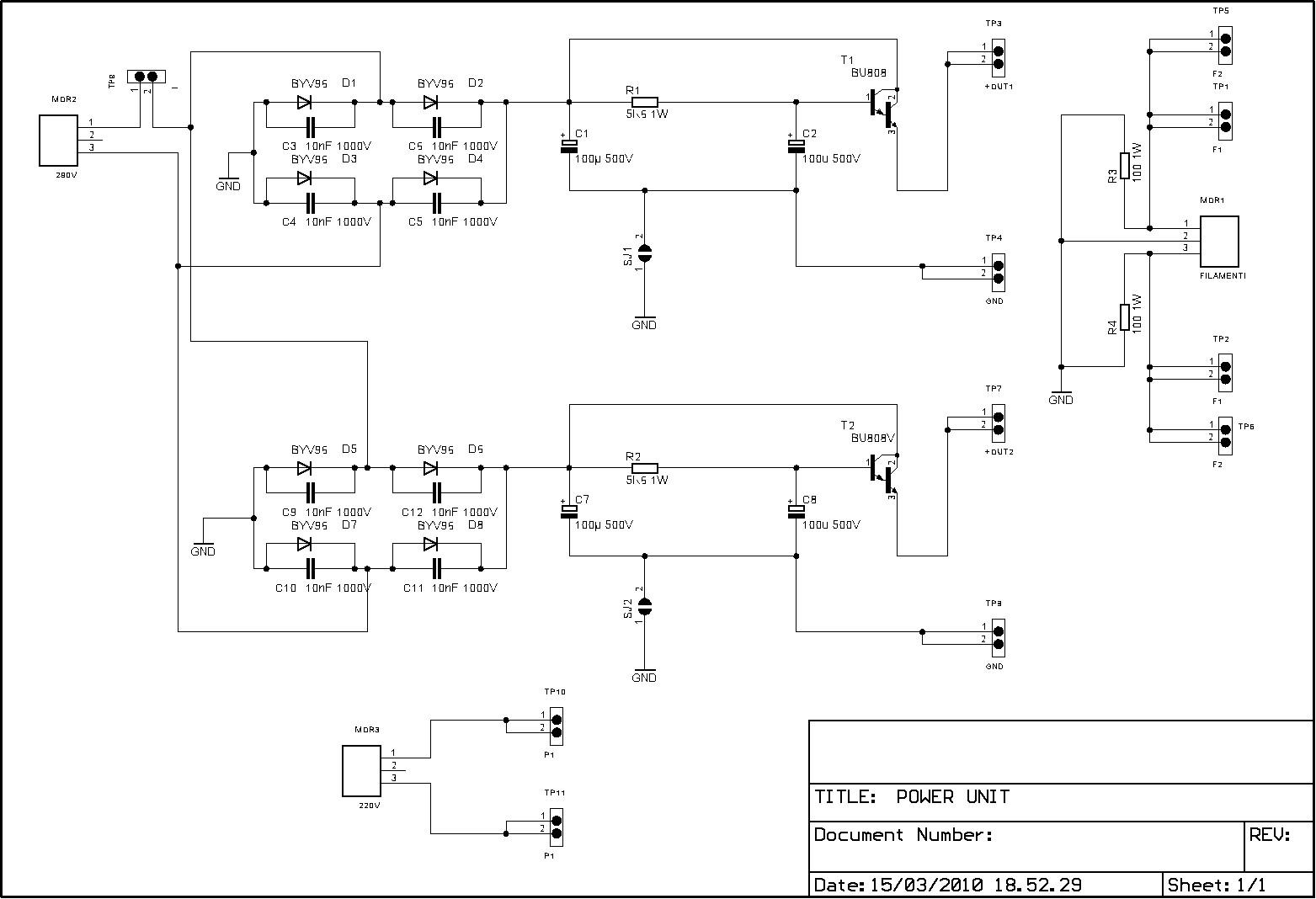 Schemi Elettrici Di Circuiti : Amplificatore con el34