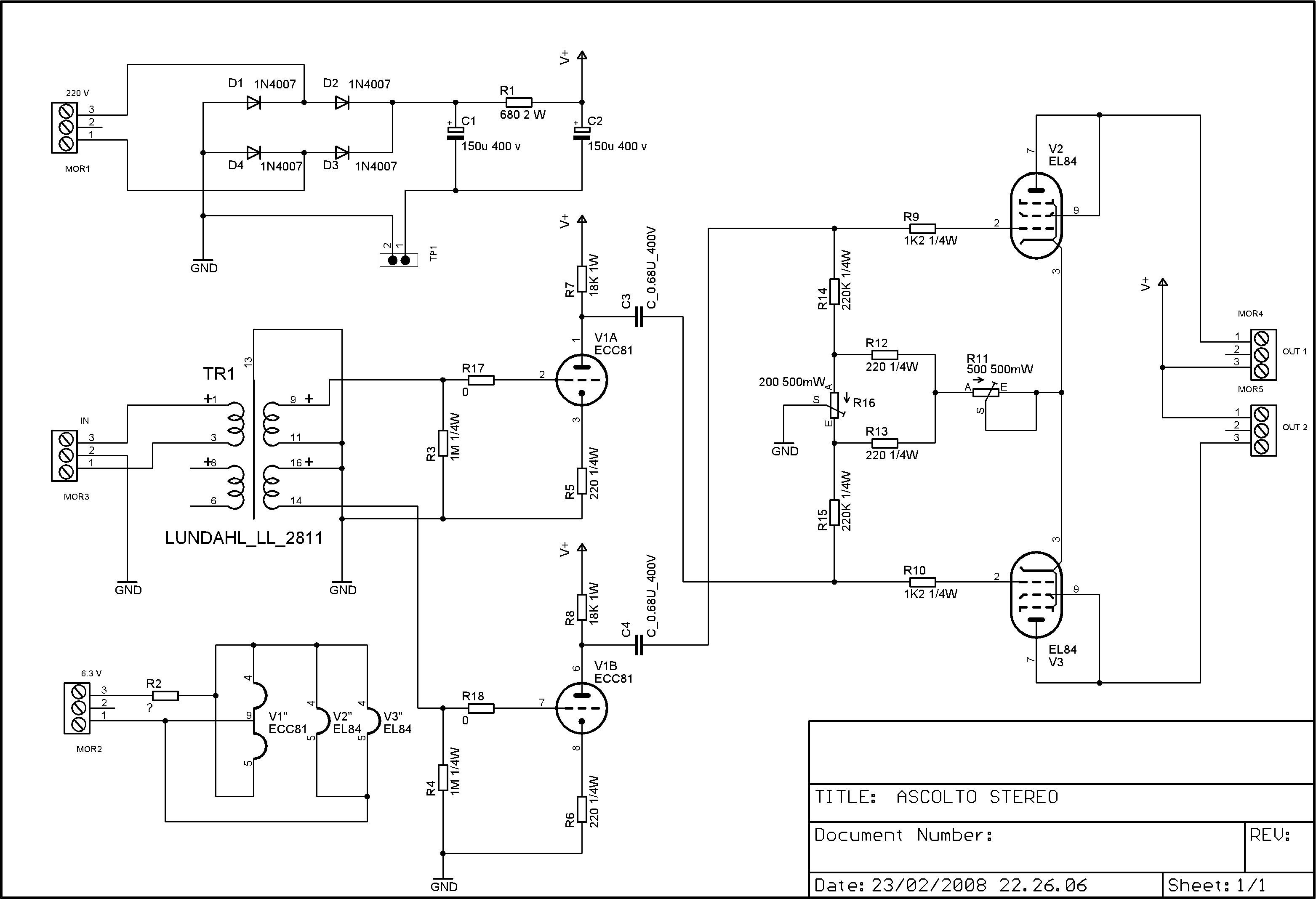 Schemi Elettrici Di Circuiti : Ascolto stereo a valvole